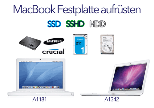 macbook ssd sshd hdd festplatte aufr stung a1181 a1342. Black Bedroom Furniture Sets. Home Design Ideas